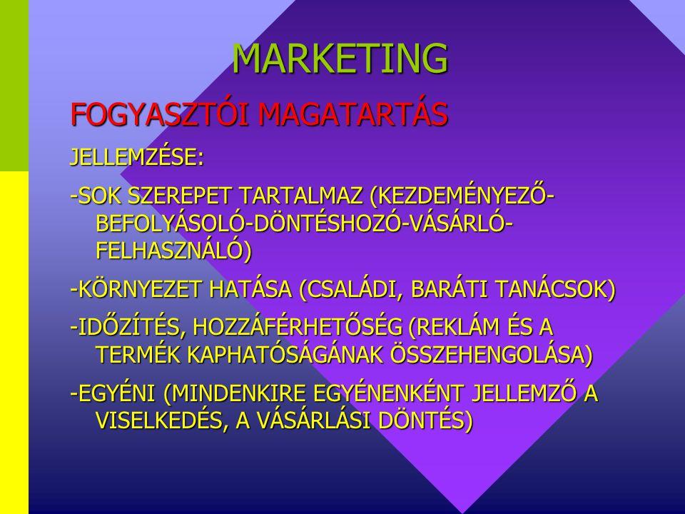 MARKETING FOGYASZTÓI MAGATARTÁS JELLEMZÉSE: -MOTÍVÁLT (CÉL MOZGATJA A FOGYASZTÓT) -SOK TEVÉKENYSÉGET ÖLEL ÁT (VÁSÁRLÁS ELŐTTI FOLYAMATOK—VÁSÁRLÁS) -FO