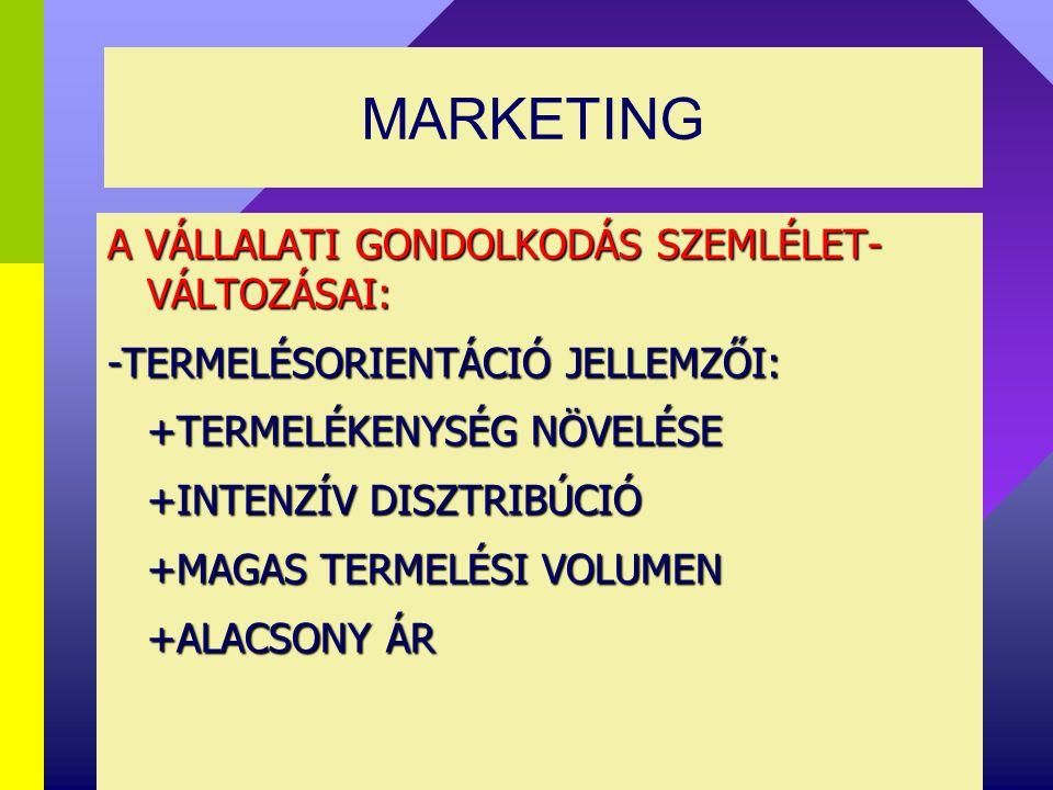 MARKETING MARKETING MENEDZSMENT MARKETINGMIX (McCARTHY) 4P -PRODUCT (TERMÉKPOLITIKA) -PRICE(ÁRPOLITIKA) -PLACE, DISTRIBUTION (ÉRTÉKESÍTÉSI CSATORNAPOLITIKA -PROMOTION(PIACBEFOLYÁSOLÁS)