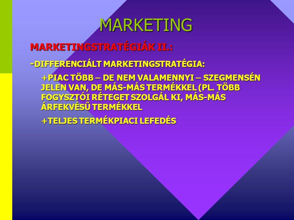 MARKETING MARKETINGSTRATÉGIÁK I.: -TÖMEGMARKETING (CÉLPIACI MARKETING ALTERNATÍVÁJA) +EGYÖNTETŰ ÉS NAGYTÖMEGŰ A KÍNÁLAT +A VÁLLALATI ERŐFORRÁSOK MAXIM