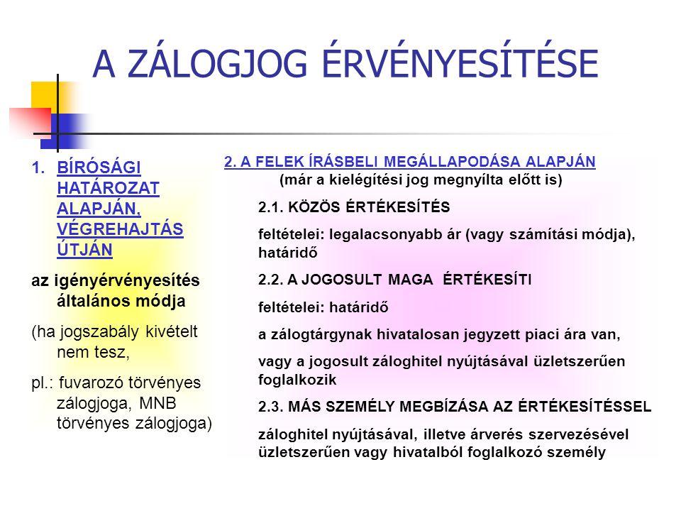 A ZÁLOGJOG ÉRVÉNYESÍTÉSE 1.BÍRÓSÁGI HATÁROZAT ALAPJÁN, VÉGREHAJTÁS ÚTJÁN az igényérvényesítés általános módja (ha jogszabály kivételt nem tesz, pl.: f