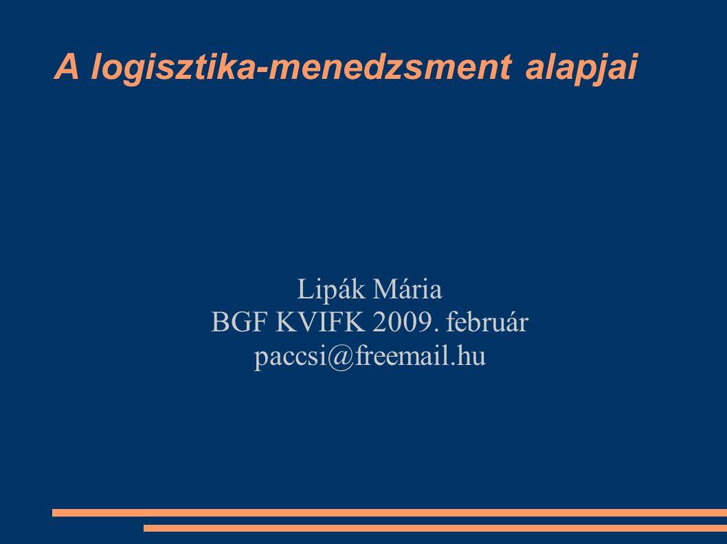 A logisztika-menedzsment alapjai Lipák Mária BGF KVIFK 2009. február paccsi@freemail.hu