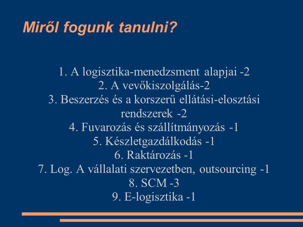 Miről fogunk tanulni. 1. A logisztika-menedzsment alapjai -2 2.