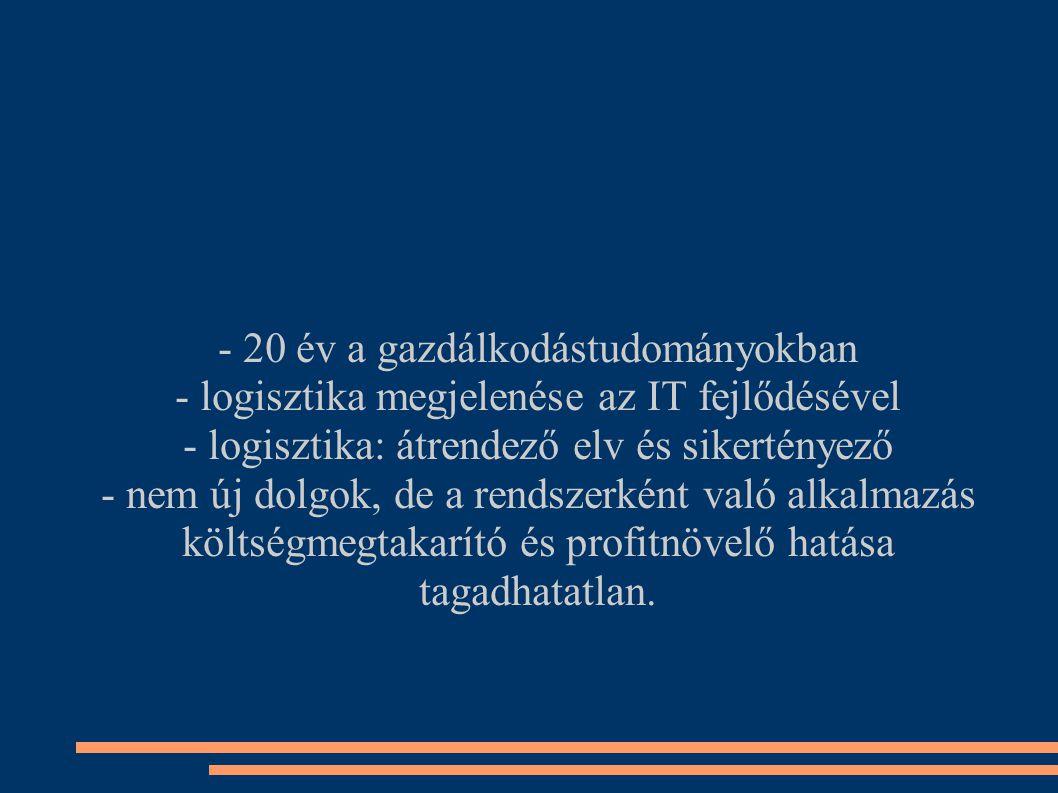 - 20 év a gazdálkodástudományokban - logisztika megjelenése az IT fejlődésével - logisztika: átrendező elv és sikertényező - nem új dolgok, de a rendszerként való alkalmazás költségmegtakarító és profitnövelő hatása tagadhatatlan.