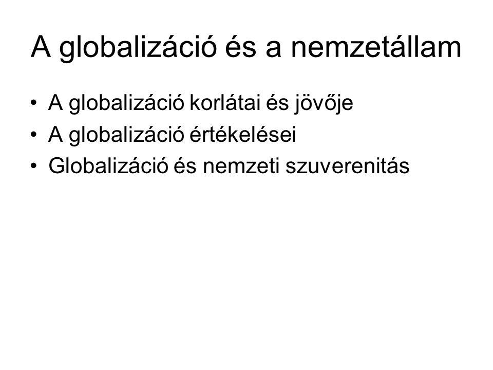 A globalizáció és a nemzetállam A globalizáció korlátai és jövője A globalizáció értékelései Globalizáció és nemzeti szuverenitás