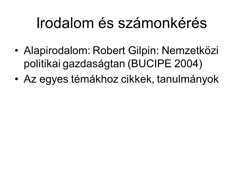 Irodalom és számonkérés Alapirodalom: Robert Gilpin: Nemzetközi politikai gazdaságtan (BUCIPE 2004) Az egyes témákhoz cikkek, tanulmányok