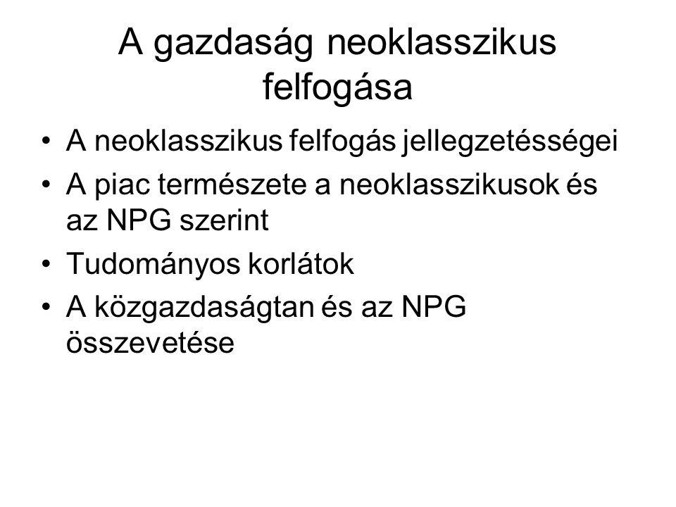 A gazdaság neoklasszikus felfogása A neoklasszikus felfogás jellegzetésségei A piac természete a neoklasszikusok és az NPG szerint Tudományos korlátok A közgazdaságtan és az NPG összevetése