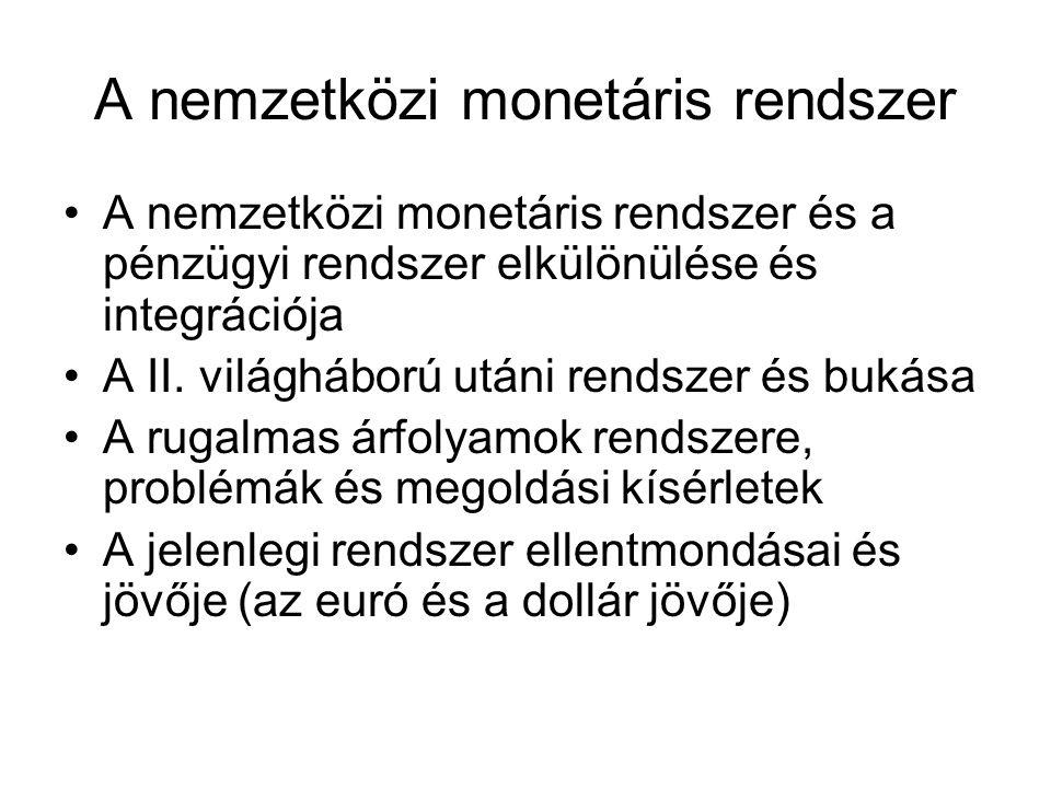 A nemzetközi pénzügyi rendszer A pénzügyi piacok globalizációja Instabilitás és pénzügyi válságok, a nemzetközi tőkepiactól való függés, a pénzügyi válságok természete A délkelet-ázsiai pénzügyi válság A jelenlegi pénzügyi válság A nemzetközi pénzügyi szabályozás: eltérő koncepciók