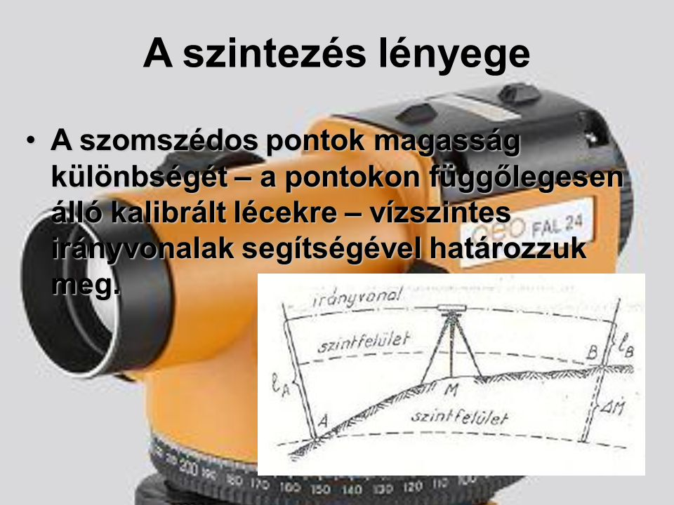 A szintezés fő szabályai 1.A szelencés (illetve a szintező (ha van)) libellát mindig be kell állítani leolvasás előtt.