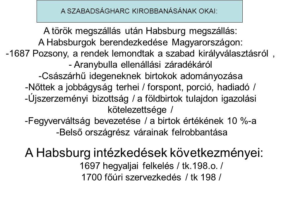 A török megszállás után Habsburg megszállás: A Habsburgok berendezkedése Magyarországon: -1687 Pozsony, a rendek lemondtak a szabad királyválasztásról