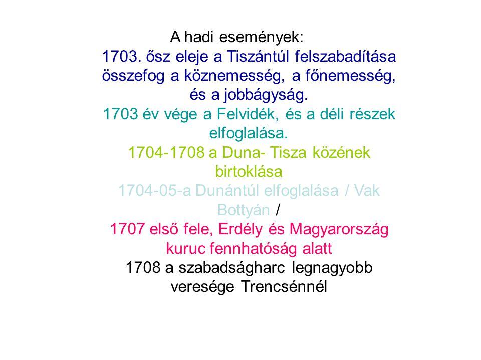 A hadi események: 1703. ősz eleje a Tiszántúl felszabadítása összefog a köznemesség, a főnemesség, és a jobbágyság. 1703 év vége a Felvidék, és a déli