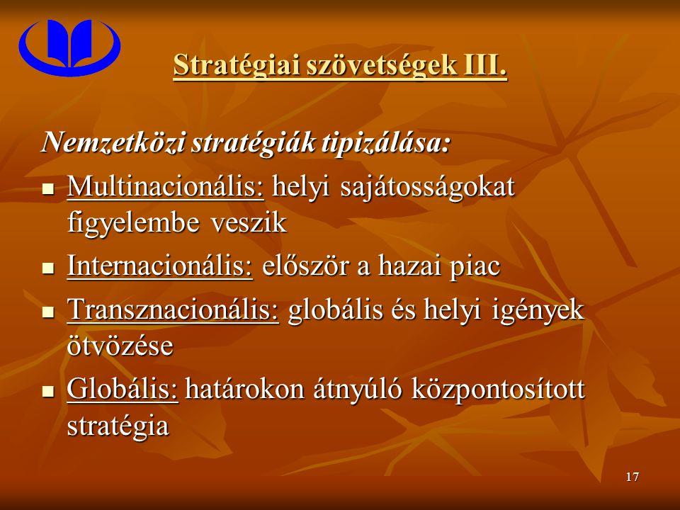 17 Stratégiai szövetségek III. Nemzetközi stratégiák tipizálása: Multinacionális: helyi sajátosságokat figyelembe veszik Multinacionális: helyi sajáto