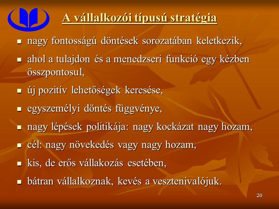20 A vállalkozói típusú stratégia nagy fontosságú döntések sorozatában keletkezik, nagy fontosságú döntések sorozatában keletkezik, ahol a tulajdon és
