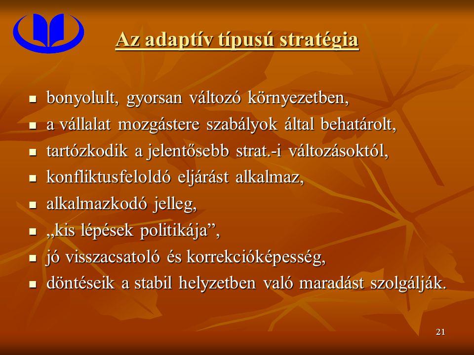 """21 Az adaptív típusú stratégia bonyolult, gyorsan változó környezetben, bonyolult, gyorsan változó környezetben, a vállalat mozgástere szabályok által behatárolt, a vállalat mozgástere szabályok által behatárolt, tartózkodik a jelentősebb strat.-i változásoktól, tartózkodik a jelentősebb strat.-i változásoktól, konfliktusfeloldó eljárást alkalmaz, konfliktusfeloldó eljárást alkalmaz, alkalmazkodó jelleg, alkalmazkodó jelleg, """"kis lépések politikája , """"kis lépések politikája , jó visszacsatoló és korrekcióképesség, jó visszacsatoló és korrekcióképesség, döntéseik a stabil helyzetben való maradást szolgálják."""