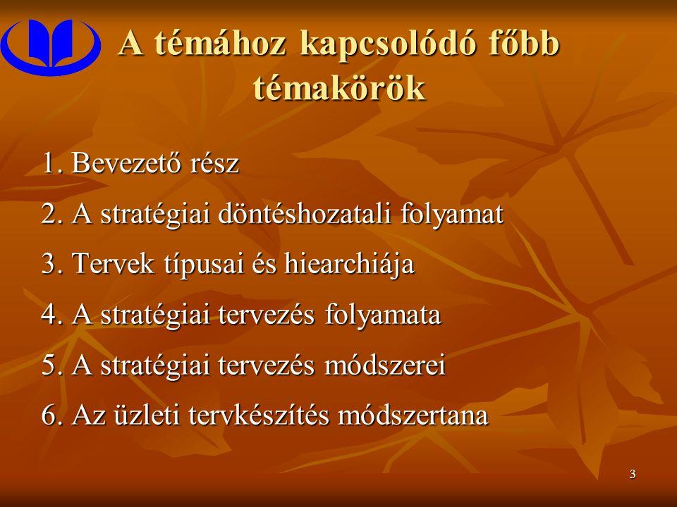 3 A témához kapcsolódó főbb témakörök 1. Bevezető rész 2. A stratégiai döntéshozatali folyamat 3. Tervek típusai és hiearchiája 4. A stratégiai tervez