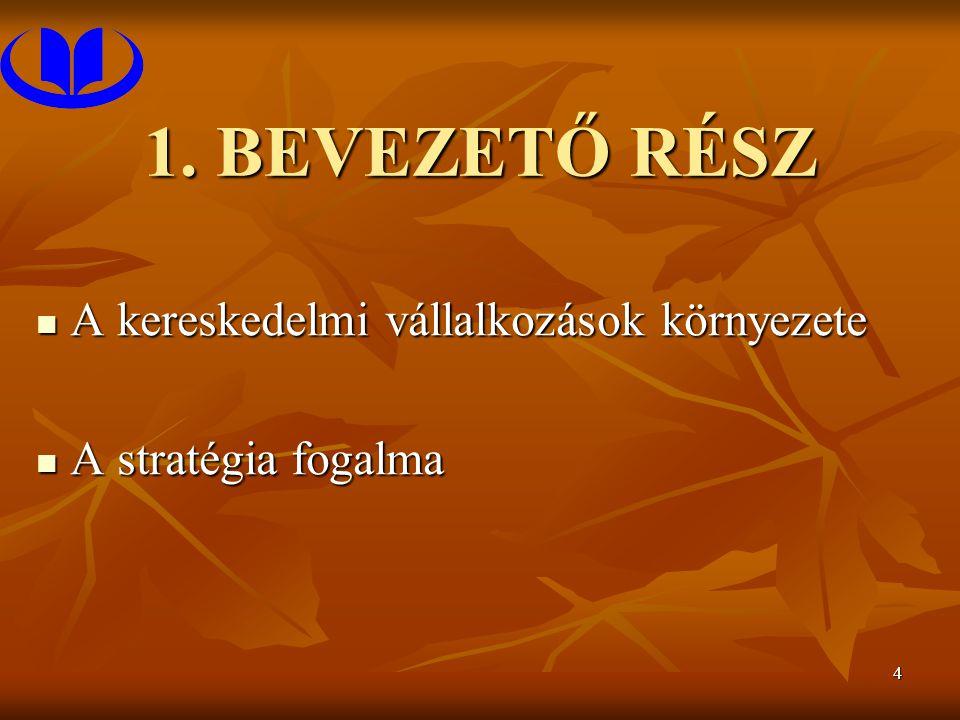 4 1. BEVEZETŐ RÉSZ A kereskedelmi vállalkozások környezete A kereskedelmi vállalkozások környezete A stratégia fogalma A stratégia fogalma