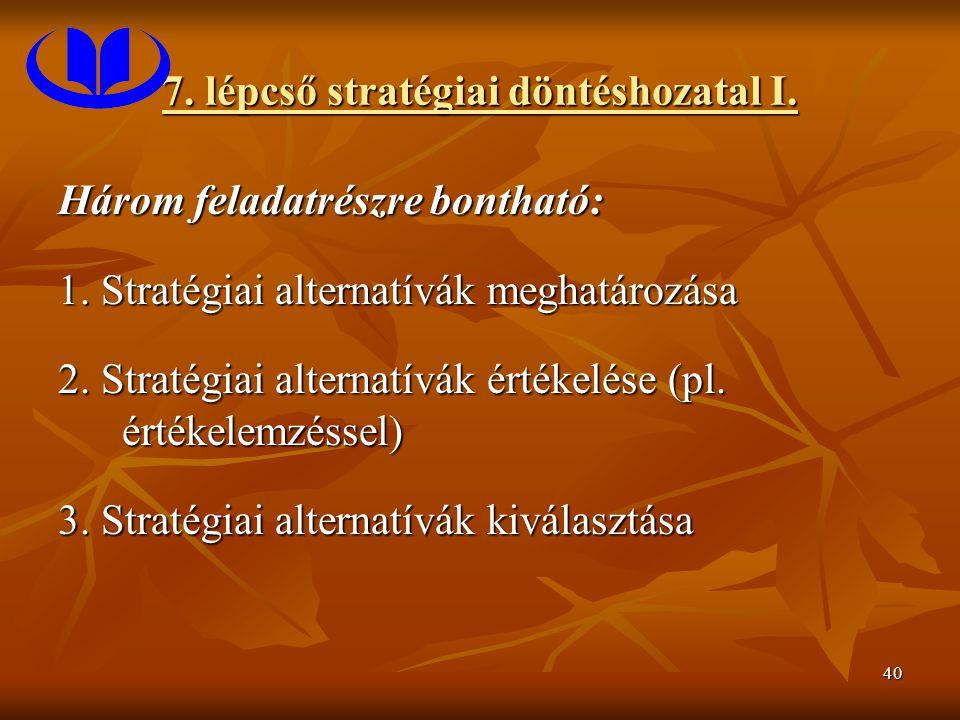 40 7. lépcső stratégiai döntéshozatal I. Három feladatrészre bontható: 1. Stratégiai alternatívák meghatározása 2. Stratégiai alternatívák értékelése