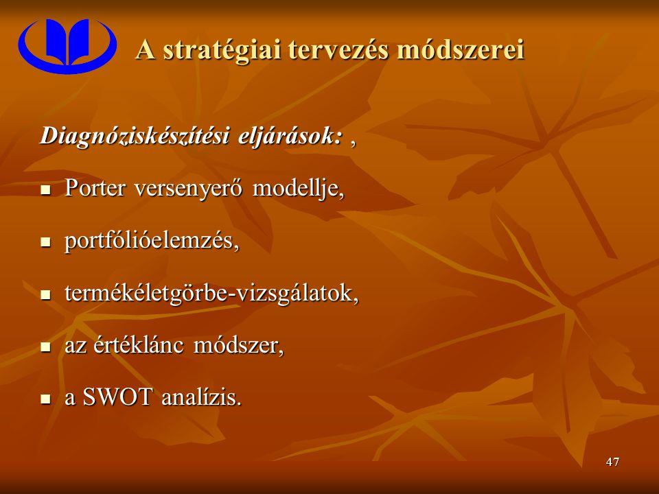 47 A stratégiai tervezés módszerei Diagnóziskészítési eljárások:, Porter versenyerő modellje, Porter versenyerő modellje, portfólióelemzés, portfólióelemzés, termékéletgörbe-vizsgálatok, termékéletgörbe-vizsgálatok, az értéklánc módszer, az értéklánc módszer, a SWOT analízis.