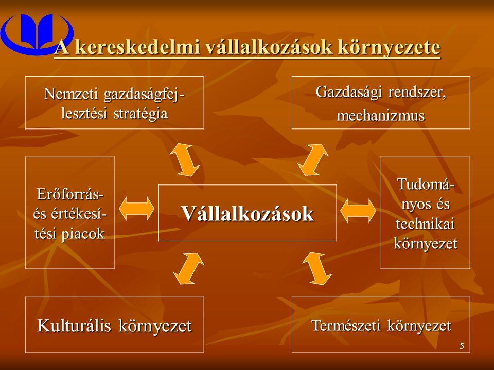 5 A kereskedelmi vállalkozások környezete Nemzeti gazdaságfej- lesztési stratégia Gazdasági rendszer, mechanizmus Erőforrás- és értékesí- tési piacok Tudomá- nyos és technikai környezet Vállalkozások Kulturális környezet Természeti környezet