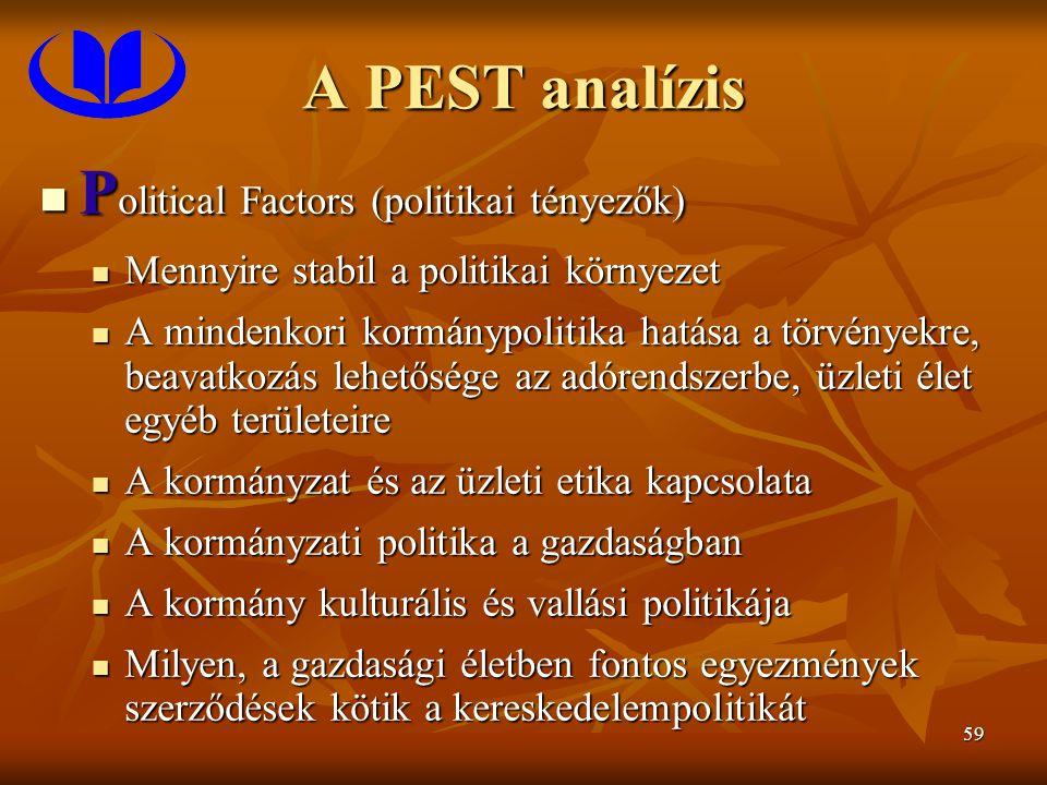 59 A PEST analízis P olitical Factors (politikai tényezők) P olitical Factors (politikai tényezők) Mennyire stabil a politikai környezet Mennyire stab