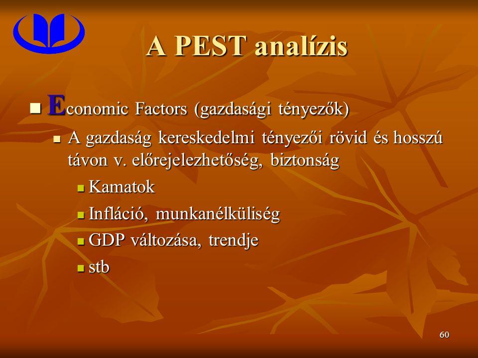 60 A PEST analízis E conomic Factors (gazdasági tényezők) E conomic Factors (gazdasági tényezők) A gazdaság kereskedelmi tényezői rövid és hosszú távon v.
