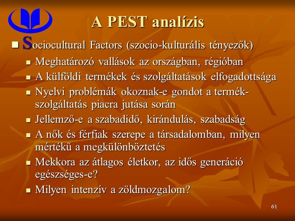 61 A PEST analízis S ociocultural Factors (szocio-kulturális tényezők) S ociocultural Factors (szocio-kulturális tényezők) Meghatározó vallások az ors