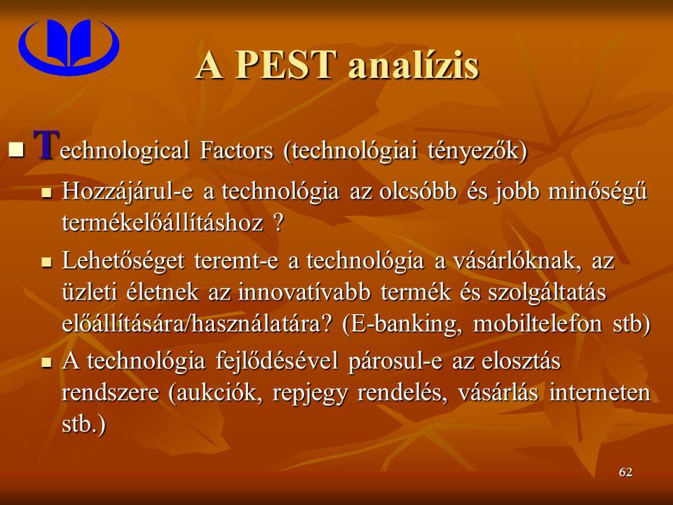 62 A PEST analízis T echnological Factors (technológiai tényezők) T echnological Factors (technológiai tényezők) Hozzájárul-e a technológia az olcsóbb