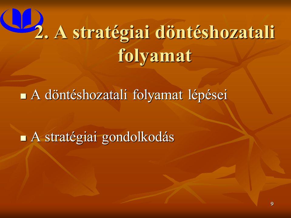 9 2. A stratégiai döntéshozatali folyamat A döntéshozatali folyamat lépései A döntéshozatali folyamat lépései A stratégiai gondolkodás A stratégiai go