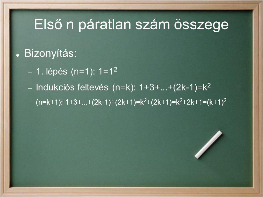 Első n páratlan szám összege Bizonyítás:  1. lépés (n=1): 1=1 2  Indukciós feltevés (n=k): 1+3+...+(2k-1)=k 2  (n=k+1): 1+3+...+(2k-1)+(2k+1)=k 2 +