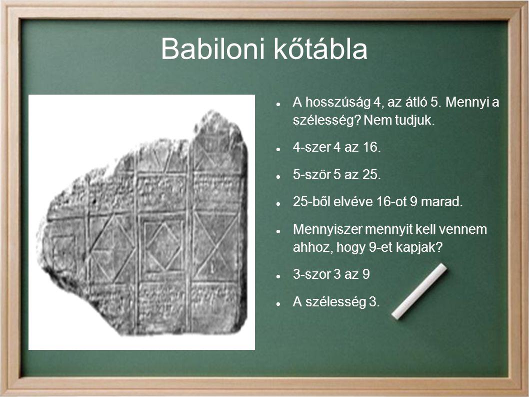 Babiloni kőtábla A hosszúság 4, az átló 5. Mennyi a szélesség? Nem tudjuk. 4-szer 4 az 16. 5-ször 5 az 25. 25-ből elvéve 16-ot 9 marad. Mennyiszer men