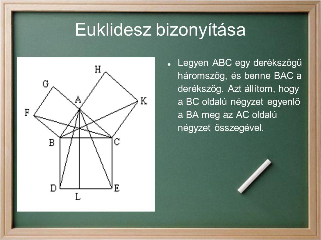 Euklidesz bizonyítása Legyen ABC egy derékszögű háromszög, és benne BAC a derékszög. Azt állítom, hogy a BC oldalú négyzet egyenlő a BA meg az AC olda