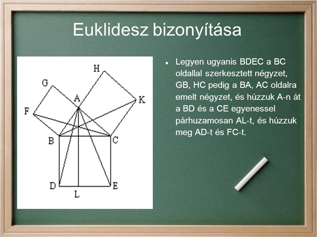 Euklidesz bizonyítása Legyen ugyanis BDEC a BC oldallal szerkesztett négyzet, GB, HC pedig a BA, AC oldalra emelt négyzet, és húzzuk A-n át a BD és a