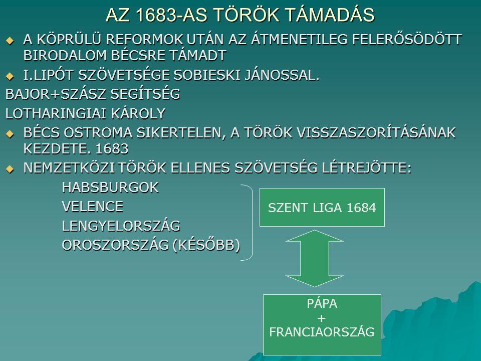 AZ 1683-AS TÖRÖK TÁMADÁS  A KÖPRÜLÜ REFORMOK UTÁN AZ ÁTMENETILEG FELERŐSÖDÖTT BIRODALOM BÉCSRE TÁMADT  I.LIPÓT SZÖVETSÉGE SOBIESKI JÁNOSSAL. BAJOR+S