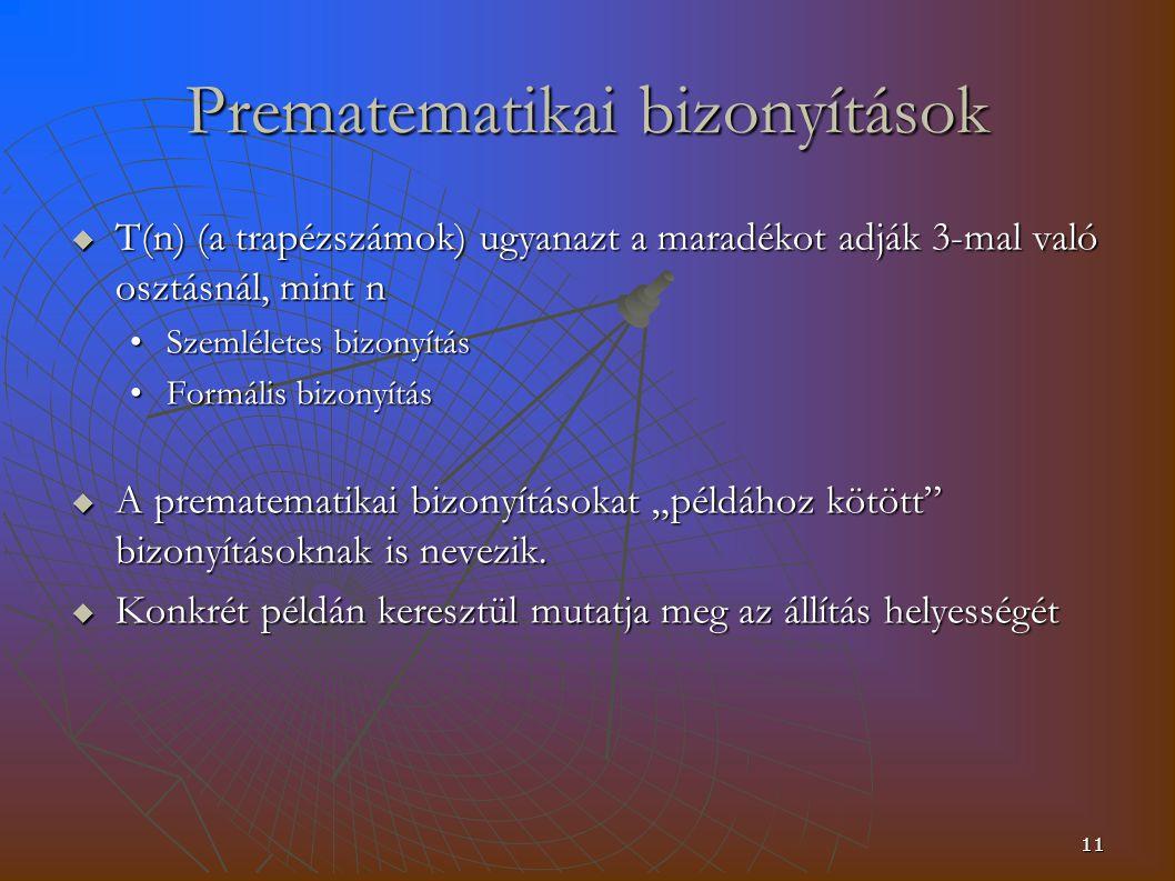 """11 Prematematikai bizonyítások  T(n) (a trapézszámok) ugyanazt a maradékot adják 3-mal való osztásnál, mint n Szemléletes bizonyításSzemléletes bizonyítás Formális bizonyításFormális bizonyítás  A prematematikai bizonyításokat """"példához kötött bizonyításoknak is nevezik."""