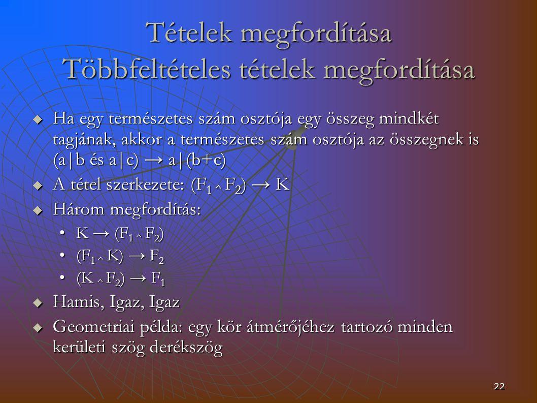 22 Tételek megfordítása Többfeltételes tételek megfordítása  Ha egy természetes szám osztója egy összeg mindkét tagjának, akkor a természetes szám osztója az összegnek is (a|b és a|c) → a|(b+c)  A tétel szerkezete: (F 1 ^ F 2 ) → K  Három megfordítás: K → (F 1 ^ F 2 )K → (F 1 ^ F 2 ) (F 1 ^ K) → F 2(F 1 ^ K) → F 2 (K ^ F 2 ) → F 1(K ^ F 2 ) → F 1  Hamis, Igaz, Igaz  Geometriai példa: egy kör átmérőjéhez tartozó minden kerületi szög derékszög
