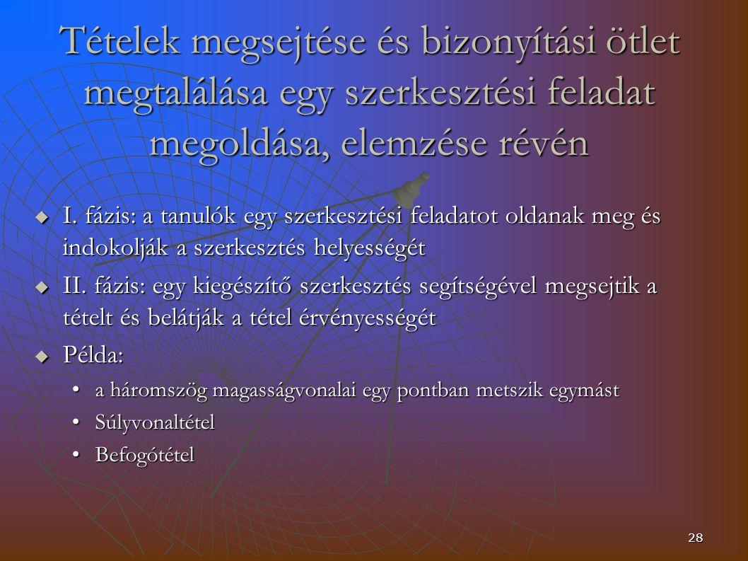 28 Tételek megsejtése és bizonyítási ötlet megtalálása egy szerkesztési feladat megoldása, elemzése révén  I.