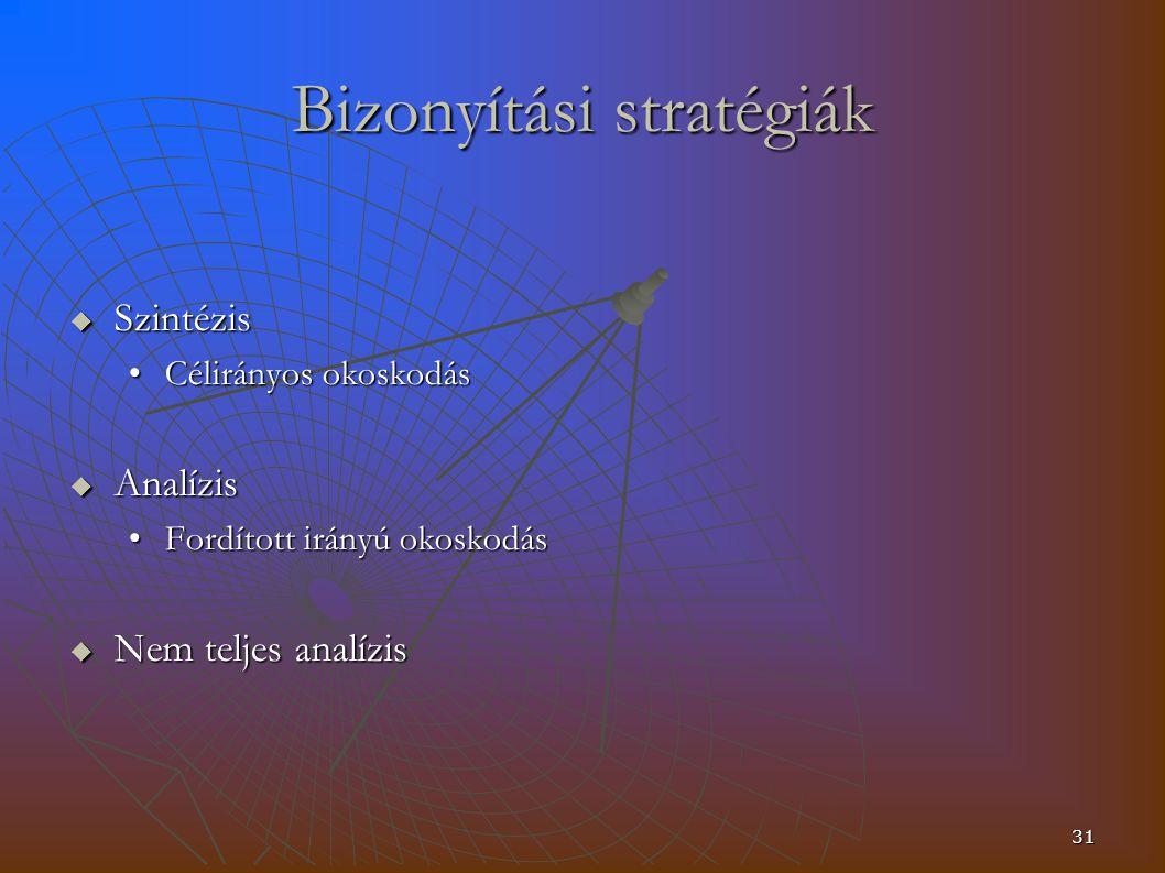 31 Bizonyítási stratégiák  Szintézis Célirányos okoskodásCélirányos okoskodás  Analízis Fordított irányú okoskodásFordított irányú okoskodás  Nem teljes analízis