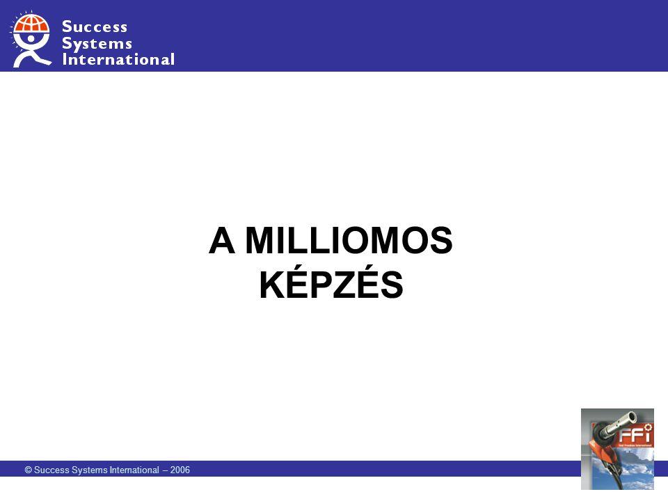 © Success Systems International – 2006 CSINÁLJ FORGALMAT AZ ÜZLETEDBEN MÁSOLHATÓ FORGALOM KISKER 200 BELÉPTETŐ 200 HASZNÁLAT 100 20 Vásárló1 Új ForgalmazóSzemélyes használat és ajánlás 500