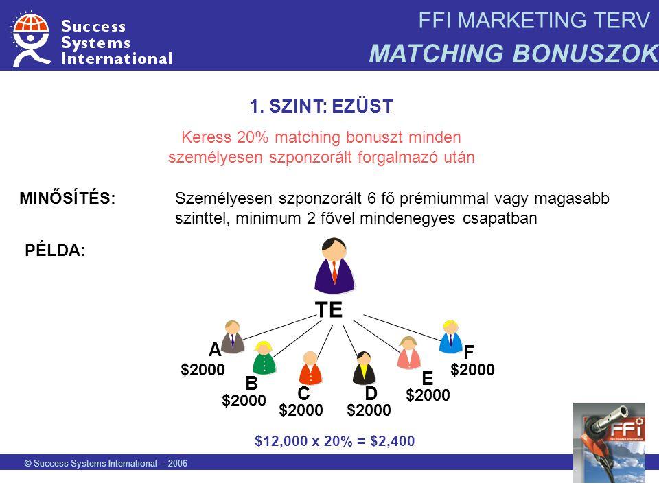 FFI MARKETING TERV MATCHING BONUSZOK © Success Systems International – 2006 1. SZINT: EZÜST Keress 20% matching bonuszt minden személyesen szponzorált