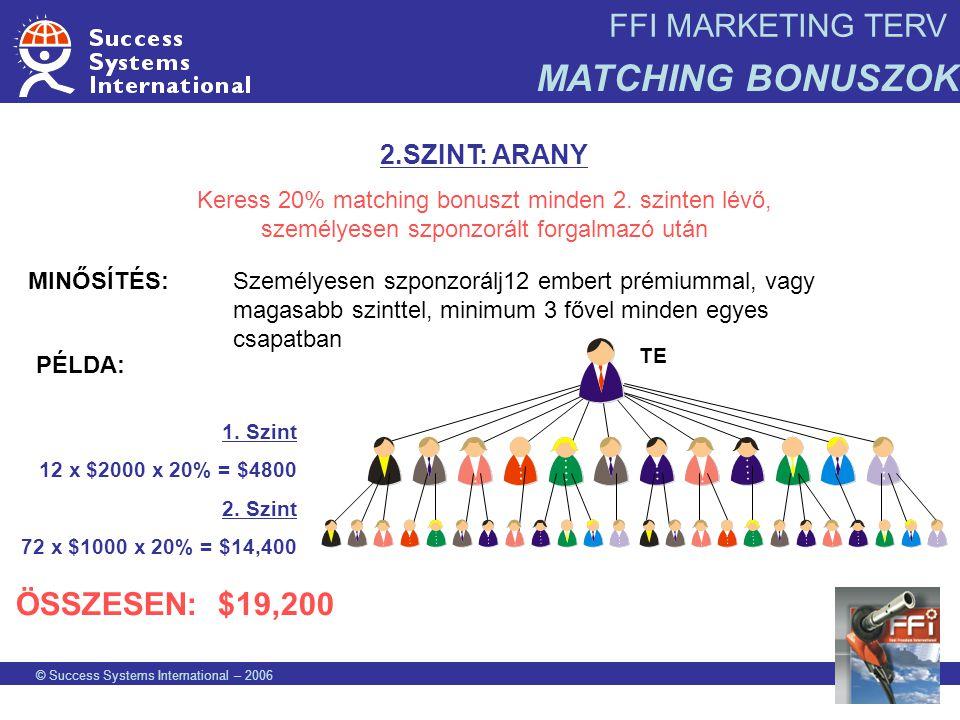 FFI MARKETING TERV MATCHING BONUSZOK © Success Systems International – 2006 2.SZINT: ARANY Keress 20% matching bonuszt minden 2. szinten lévő, személy