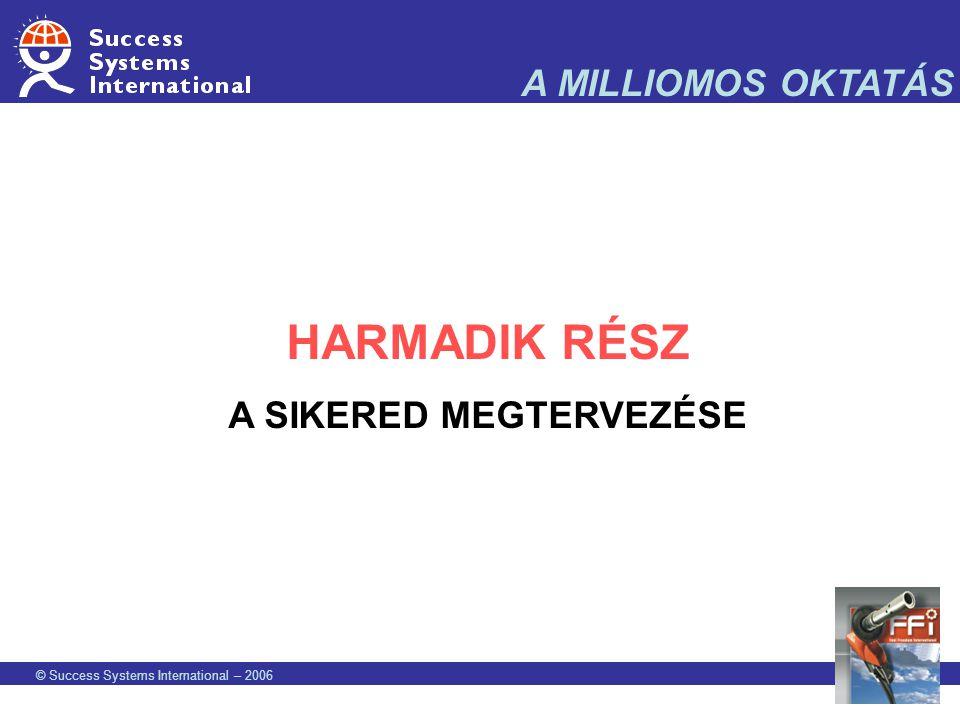 © Success Systems International – 2006 A MILLIOMOS OKTATÁS HARMADIK RÉSZ A SIKERED MEGTERVEZÉSE