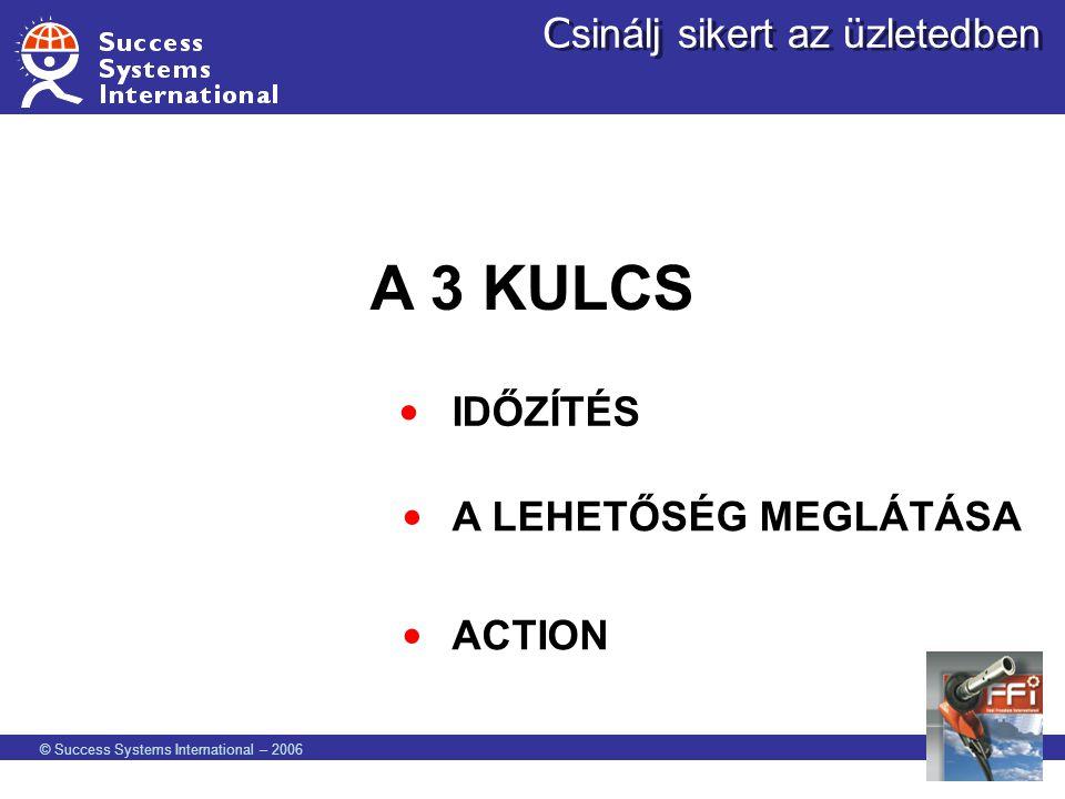 © Success Systems International – 2006 C sinálj sikert az üzletedben A 3 KULCS IDŐZÍTÉS A LEHETŐSÉG MEGLÁTÁSA ACTION