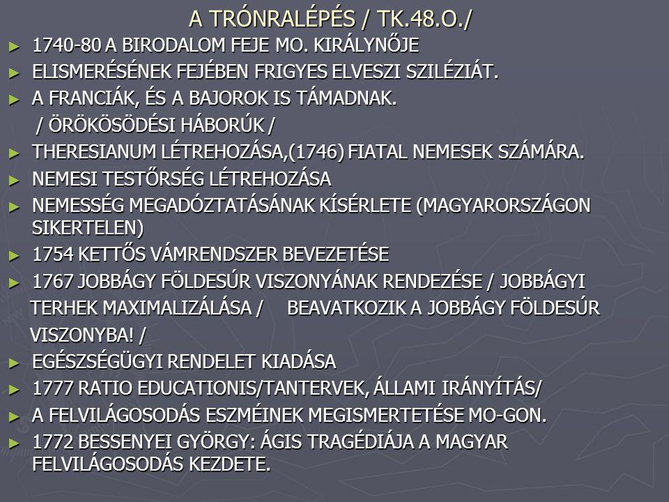 A TRÓNRALÉPÉS / TK.48.O./ ► 1740-80 A BIRODALOM FEJE MO. KIRÁLYNŐJE ► ELISMERÉSÉNEK FEJÉBEN FRIGYES ELVESZI SZILÉZIÁT. ► A FRANCIÁK, ÉS A BAJOROK IS T