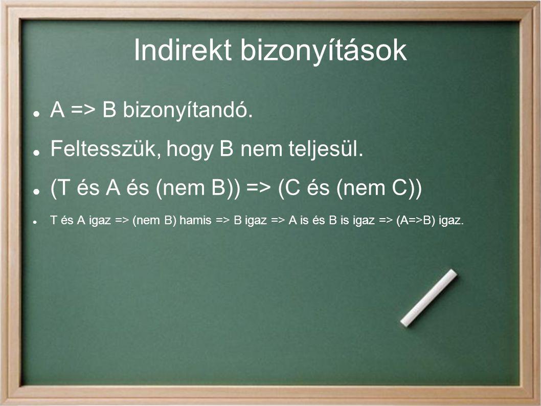 Indirekt bizonyítások A => B bizonyítandó.Feltesszük, hogy B nem teljesül.