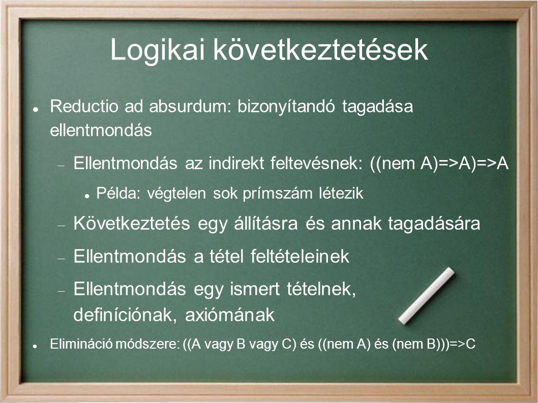 Logikai következtetések Reductio ad absurdum: bizonyítandó tagadása ellentmondás  Ellentmondás az indirekt feltevésnek: ((nem A)=>A)=>A Példa: végtelen sok prímszám létezik  Következtetés egy állításra és annak tagadására  Ellentmondás a tétel feltételeinek  Ellentmondás egy ismert tételnek, definíciónak, axiómának Elimináció módszere: ((A vagy B vagy C) és ((nem A) és (nem B)))=>C
