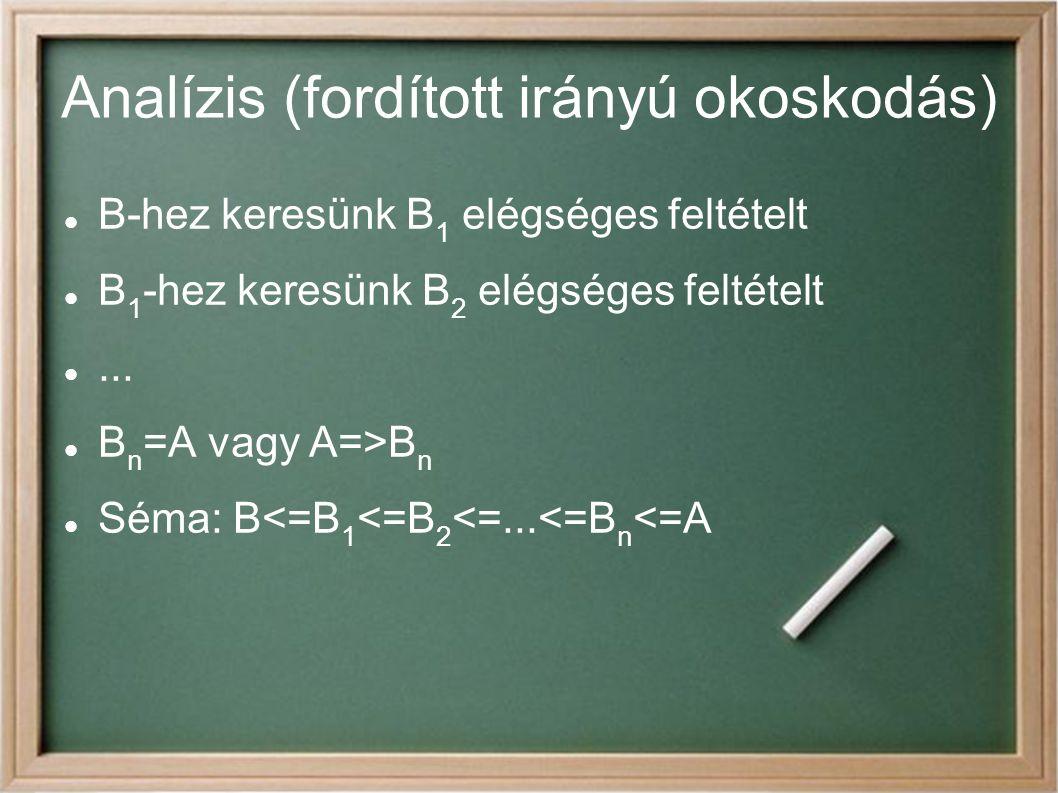 Analízis (fordított irányú okoskodás) B-hez keresünk B 1 elégséges feltételt B 1 -hez keresünk B 2 elégséges feltételt...