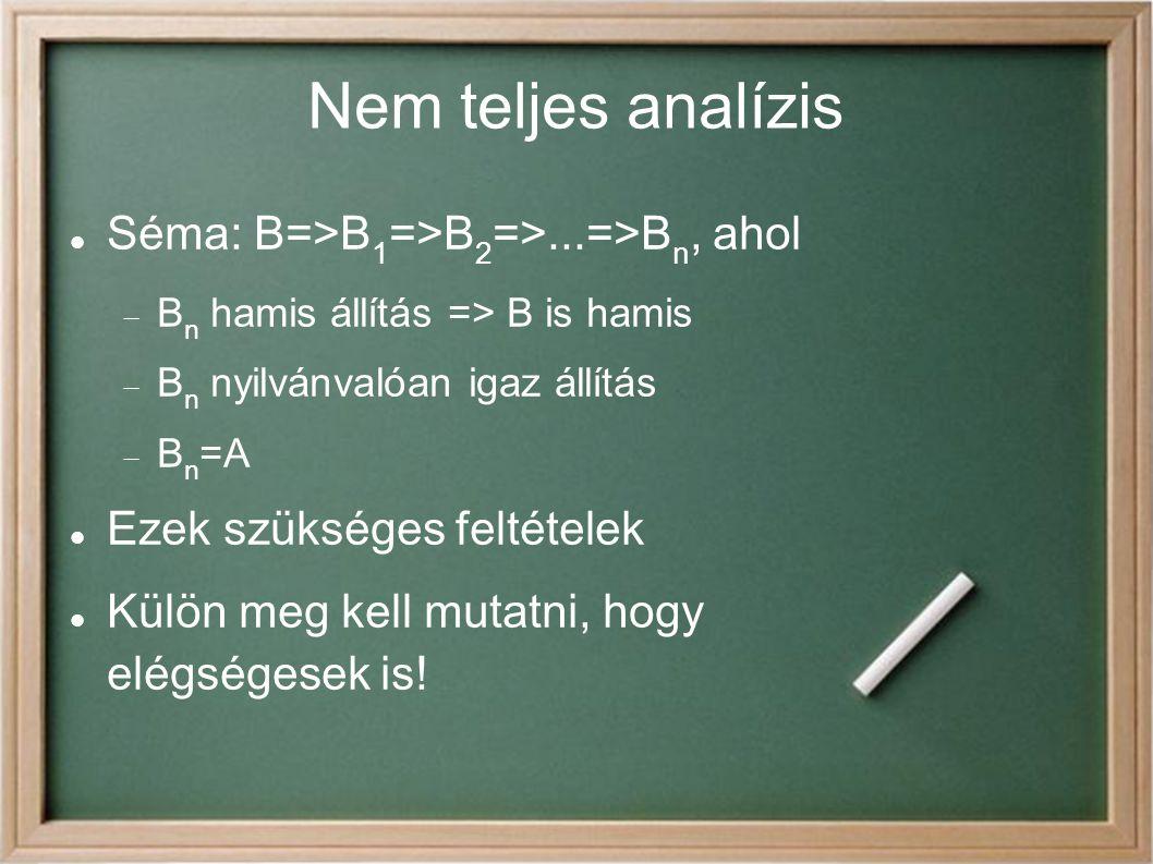 Analízis és szintézis A=>...=>A i B<=...<=B j A i =B j