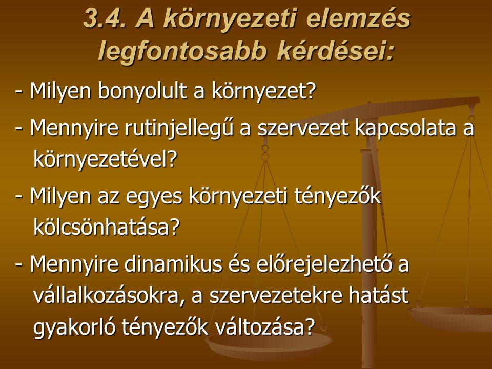 3.4.A környezeti elemzés legfontosabb kérdései: - Milyen bonyolult a környezet.