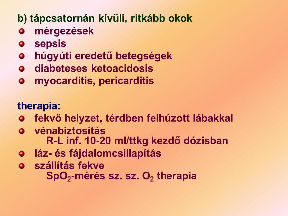 b) tápcsatornán kívüli, ritkább okok mérgezések sepsis húgyúti eredetű betegségek diabeteses ketoacidosis myocarditis, pericarditis therapia: fekvő he