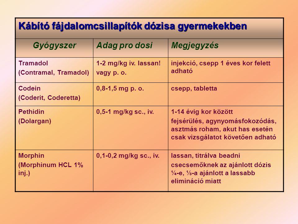 Kábító fájdalomcsillapítók dózisa gyermekekben GyógyszerAdag pro dosiMegjegyzés Tramadol (Contramal, Tramadol) 1-2 mg/kg iv. lassan! vagy p. o. injekc