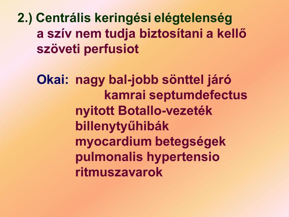 2.) Centrális keringési elégtelenség a szív nem tudja biztosítani a kellő szöveti perfusiot Okai:nagy bal-jobb sönttel járó kamrai septumdefectus nyit